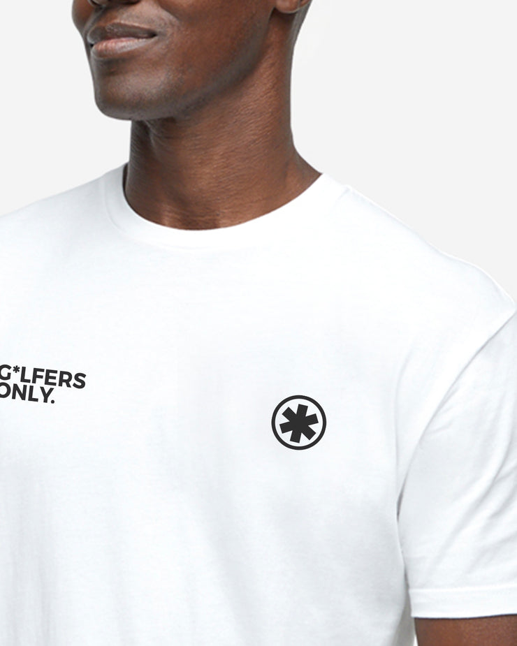 "White soft cotton crew neck ""g*lfers only"" t-shirt"