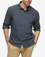 Gravity Long Sleeve Button Down - Heather Black