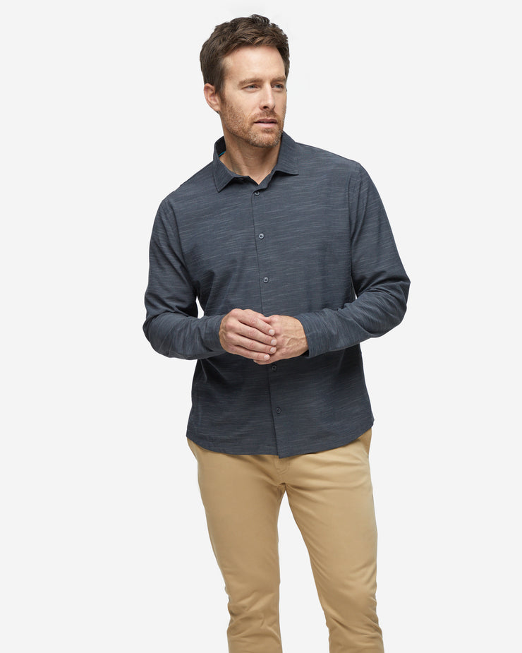Heather black textured breathable and stretchy long sleeve button down