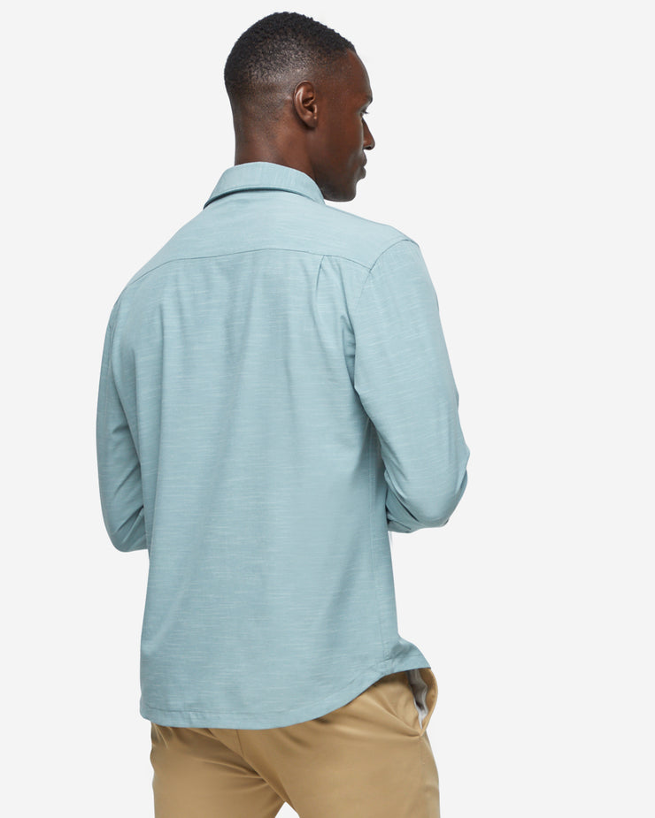 Green-grey breathable and stretchy long sleeve button down