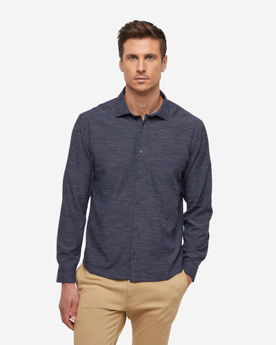 Gravity Long Sleeve Button Down - Navy Blue