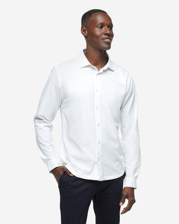 Gravity Long Sleeve Button Down - White