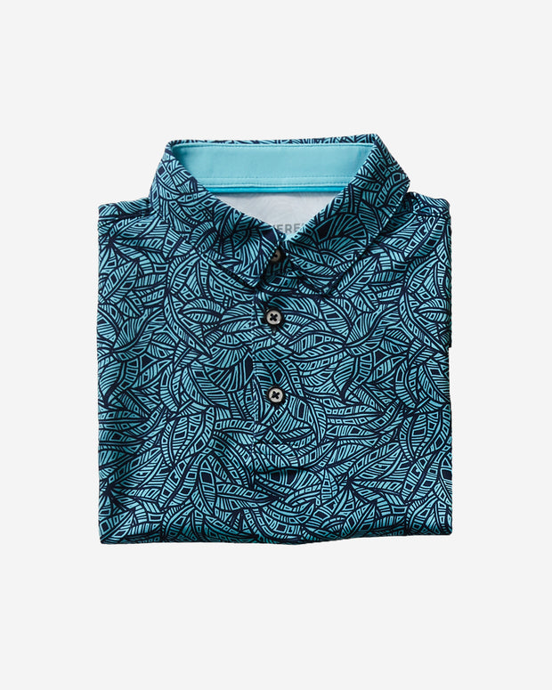 Kids black and blue polo with all-over palm print and three button placket