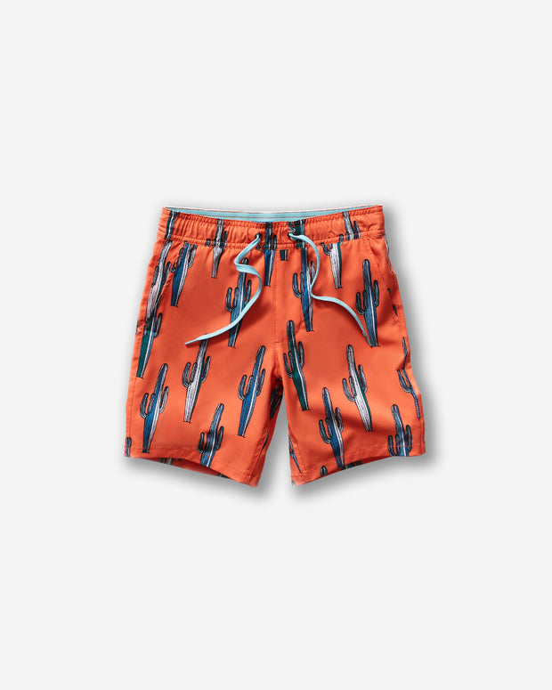 Orange kids swim trunk with all-over blue and white saguaro cactus print and an elastic baby blue tie front waist band