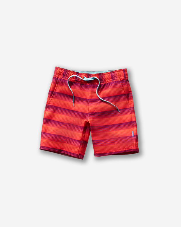 Orange pink and red horizontal stripe all-over pattern kids swim trunk with an elastic baby blue tie front waistband