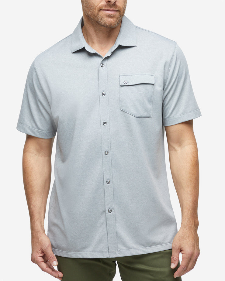 Grey textured short sleeve button down with asymmetric left chest pocket with button