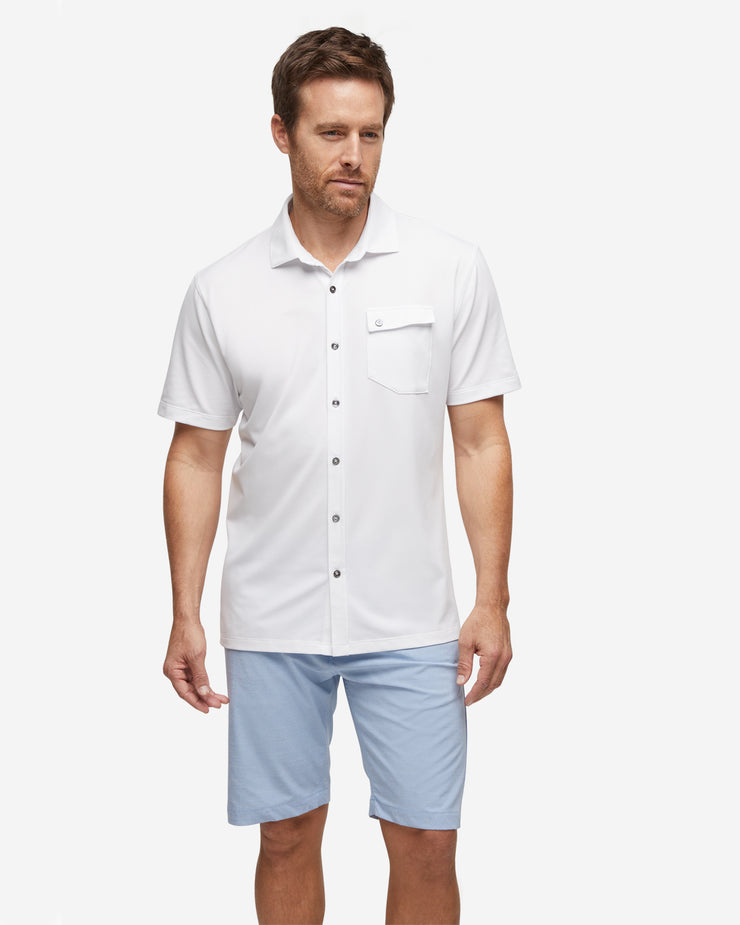 Lay-Low Short Sleeve Button Down - White