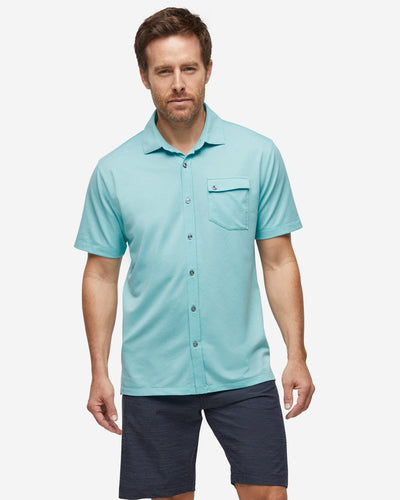 Lay Low Short Sleeve Button Down - Angel Blue