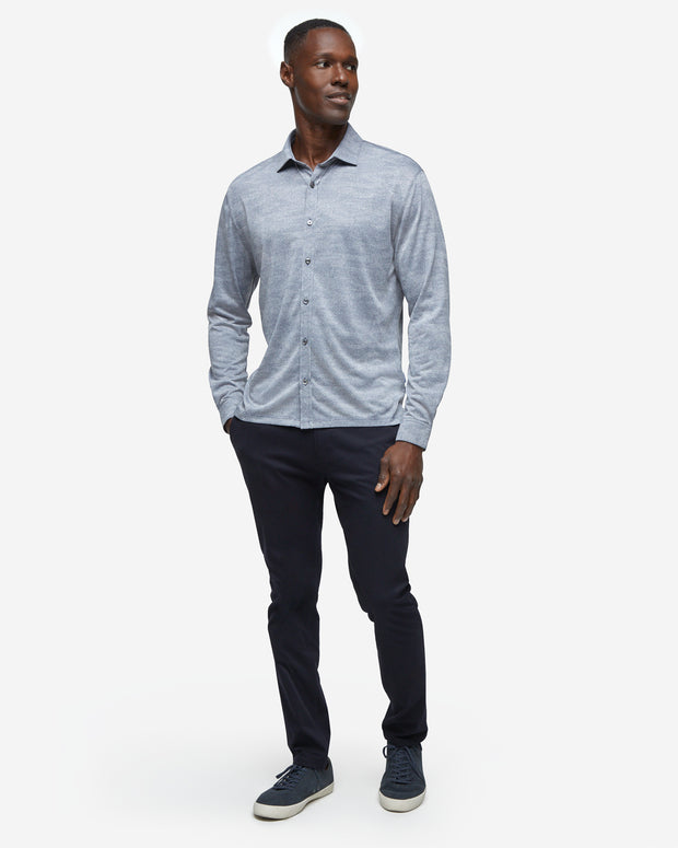 Monaco Long Sleeve Button Down - Navy