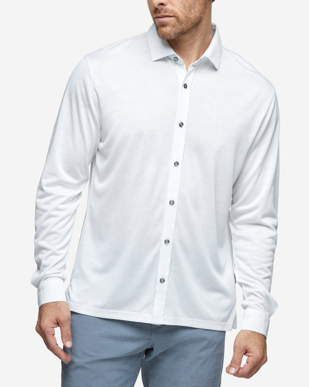 Monaco Long Sleeve Button Down - White