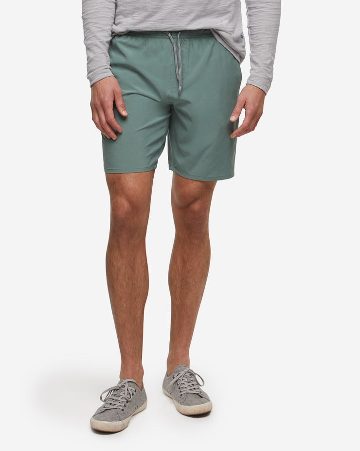 Olive green unlined drawstring active short with zipper pocket by Devereux