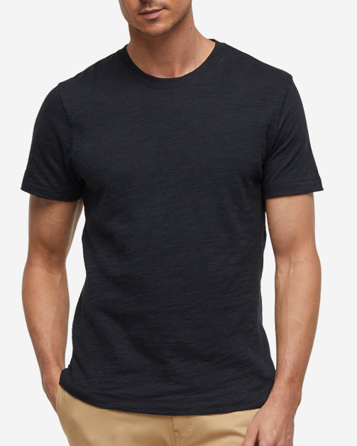 Short Sleeve Slub Crew Neck - Black