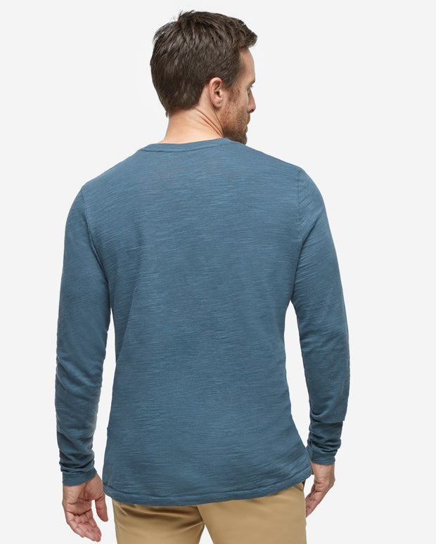 Long Sleeve Slub Crew Neck - Dark Slate
