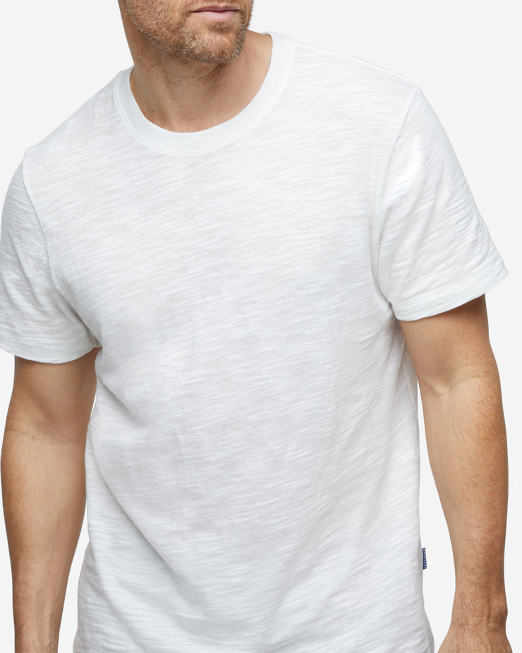Short Sleeve Slub Crew Neck - White
