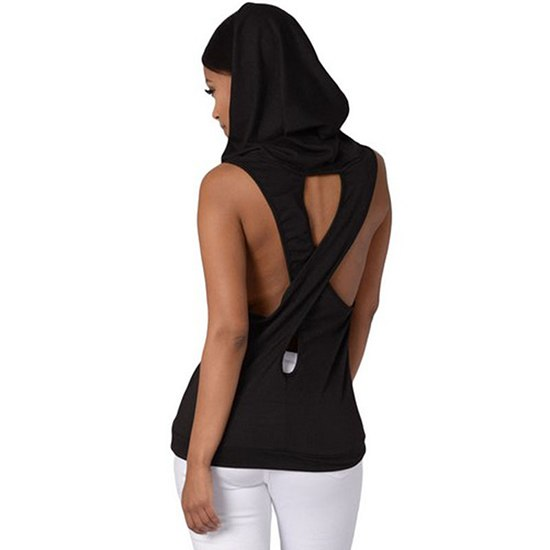 Fitness Backless Sport Shirt Women Breathable Sleeveless Yoga Shirt Gym Hooded Yoga Tops Running Sportswear Womens Yoga Clothing
