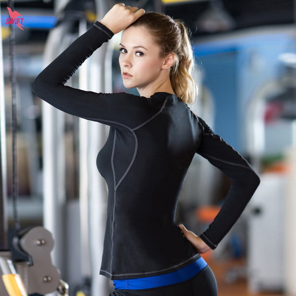 Sports Long Sleeve Tshirt Women Yoga Top Fitness Compression Shirt Women T-shirt Skinny Tight Workout Running Girl Yoga Shirt