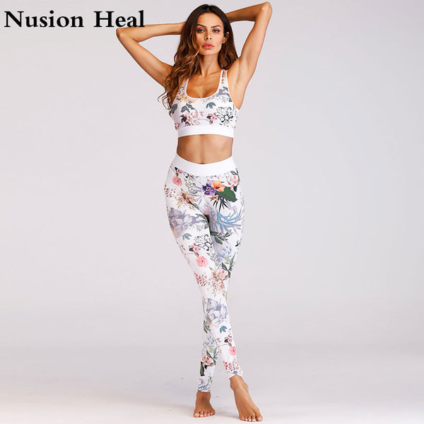 Printed Yoga Pant + Sport Yoga Bra Top Women High Waist Yoga Legging Sports Tight Fitness Pants Slim Running Leggings Trousers