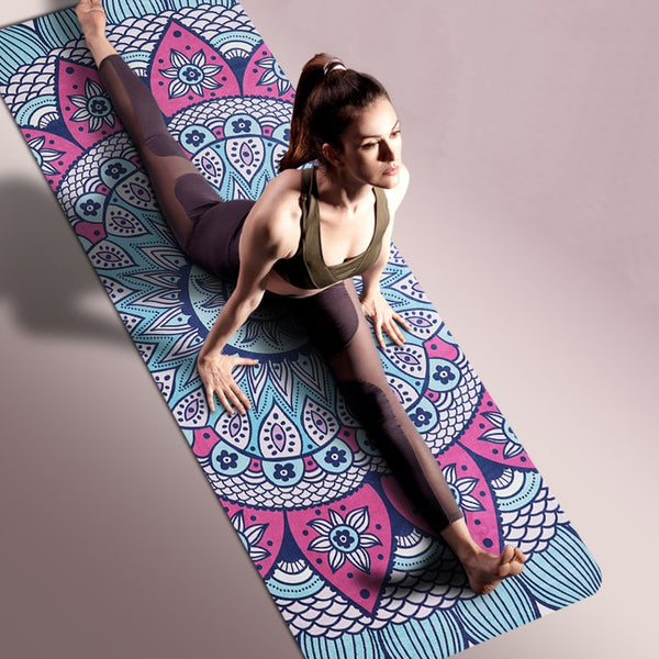 New Printed Yoga Mats Widen Yoga Mat Yoga Blanket Beginners Mat Ultrathin Natural Rubber Suede Yoga Mat