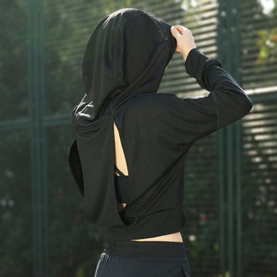 Women Hooded Running Shirt Yoga Top Yoga Shirt Breathable Fitness Running Hoodie Sport T Shirt Women Jersey Sexy Sports Clothing
