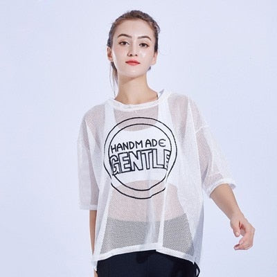 Mesh Yoga Shirt Short Sleeve Sport Shirts Yoga Sport Top Fitness Women Breathable Workout Jogging Running T-shirt Sport Clothing