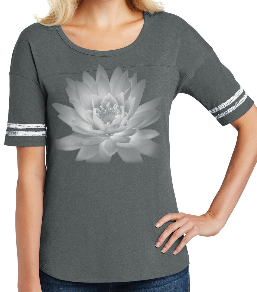 Ladies Lotus Flower Yoga Shirt - Heathered Charcoal/White