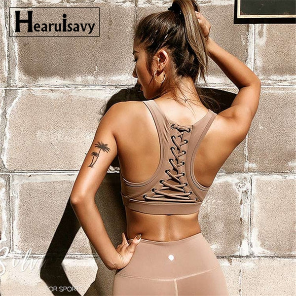 Women's Strappy Back Yoga Bra High Impact Padded Yoga Bra Workout mesh Gym Bra Breathable Sport Top Fitness Brassiere Crop Top