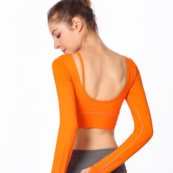 Nepoagym women yoga shirt sport Top Silky elastic backless long sleeve yoga t-shirt for women Gym running sports fitness shirt