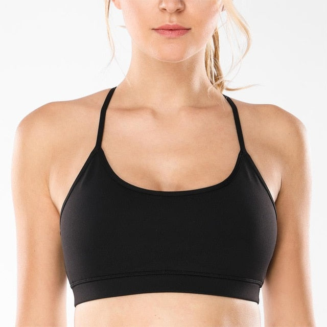 Women's Mesh Yoga Bras With Removable Cups Wirefree Yoga Bra