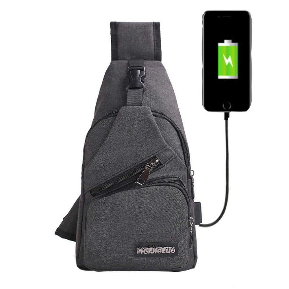 98bd89f17069 Eulan Sling Bag with USB Charging Port, Crossbody Canvas Chest Bag ...