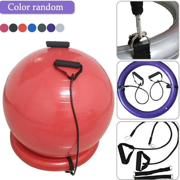 PVC Yoga Ball Base Set With Handle Explosion-proof Yoga Ball Fixed Base Exercise Gym Ball Sport Fitball Proof Random Color