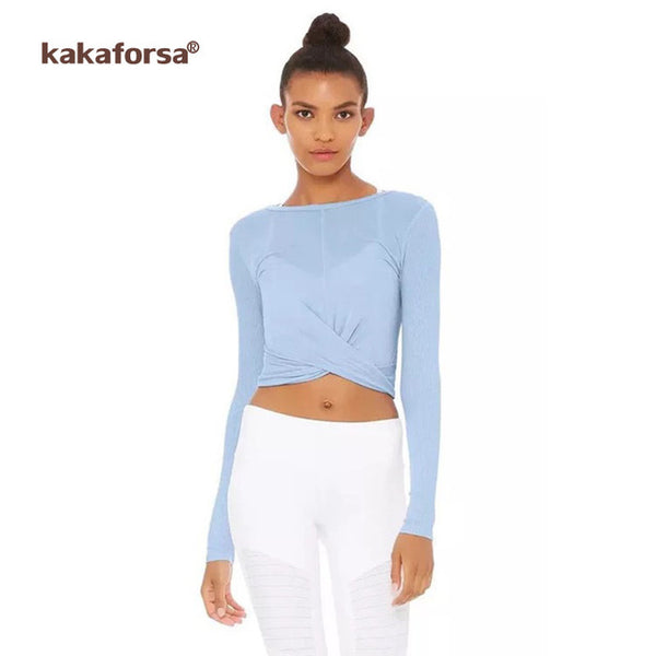 Kakaforsa Yoga Top Gym Sports Vest Shirts Women Yoga Cross Clothes Female Shirt Fitness Clothing Womens Solid Tight Yoga Shirt