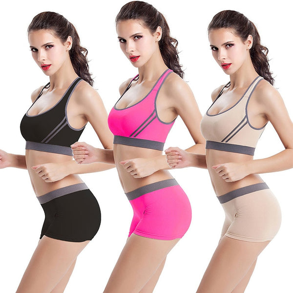 Cross Backless Yoga Bra  Gym Running Yoga Bra+Sport Shorts Fitness Sports Set
