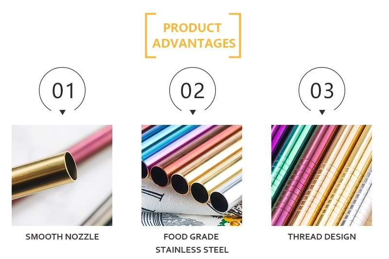 stainless steel drinking straws reusable 6/8pcs