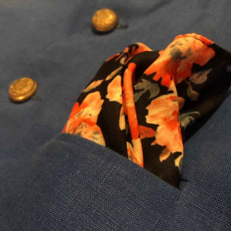 Floral silk pocket square to accentuate midnight blue nehru jacket