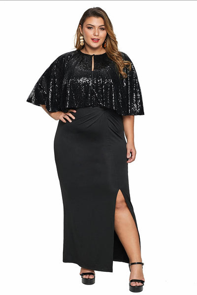 Black Sequin Cape Plus Size Maxi Dress