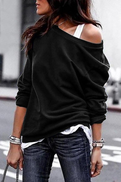 Black Plain One Shoulder Pul Sweatshirt