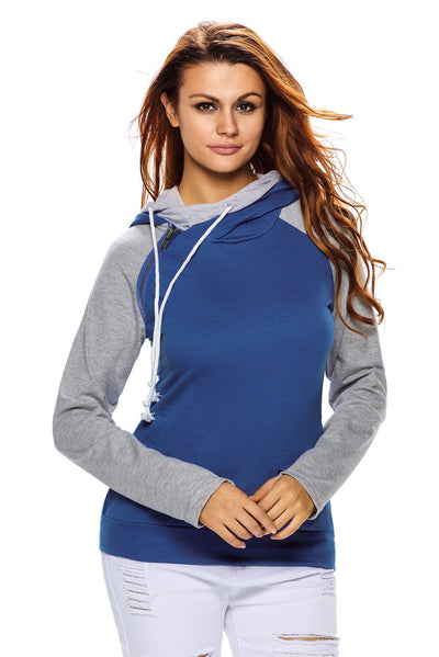 Blue Grey Patchwork Double Hooded Sweatshirt