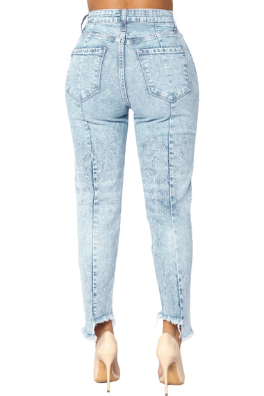 Acid Wash Designful Seam Accent Raw Hem Jeans | Women Clothing Qatar
