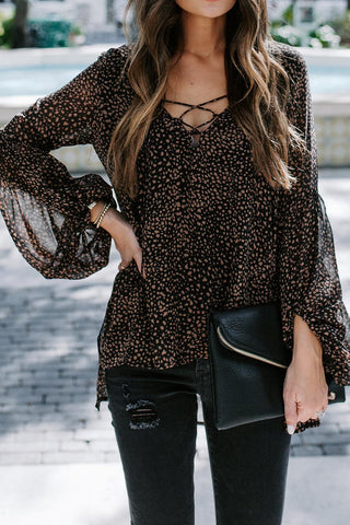 Black Lantern Sleeve Lace Up Blouse