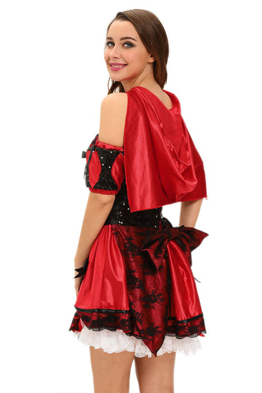 4pcs Miss Red Riding Hood Costume | Women Clothing Qatar