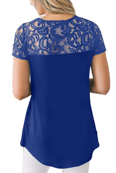 Blue Floral Lace Summer Short Sleeve Blouse