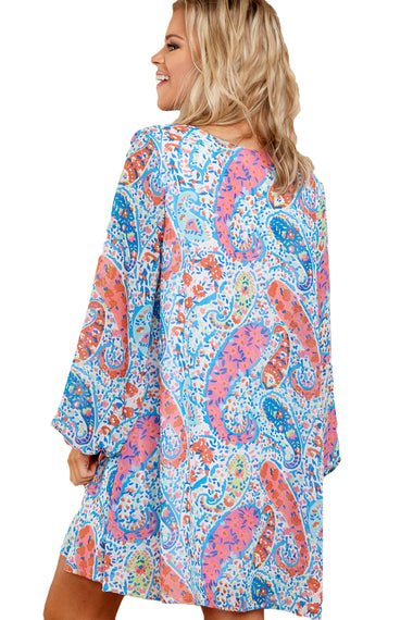 Abstract Fish Print V Neck Chiffon Dress | Women Clothing Qatar