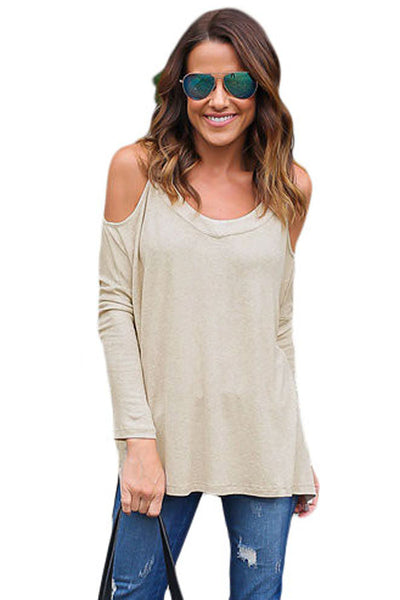Beige Long Sleeve Relaxed Fit Cold Shoulder Top