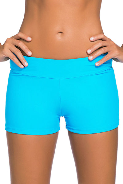 Acid Blue Wide Waistband Swimsuit Bottom Shorts