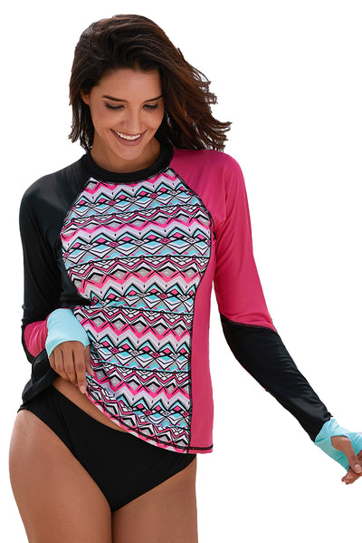 Asymmetric Colorblock Long Sleeve Print Rashguard Top