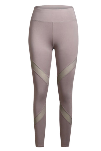 Gray High Stretch Mesh Patchwork Legging