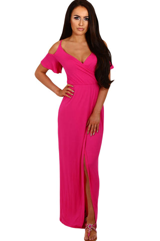 Rosy Cold Shoulder Long Jersey Dress