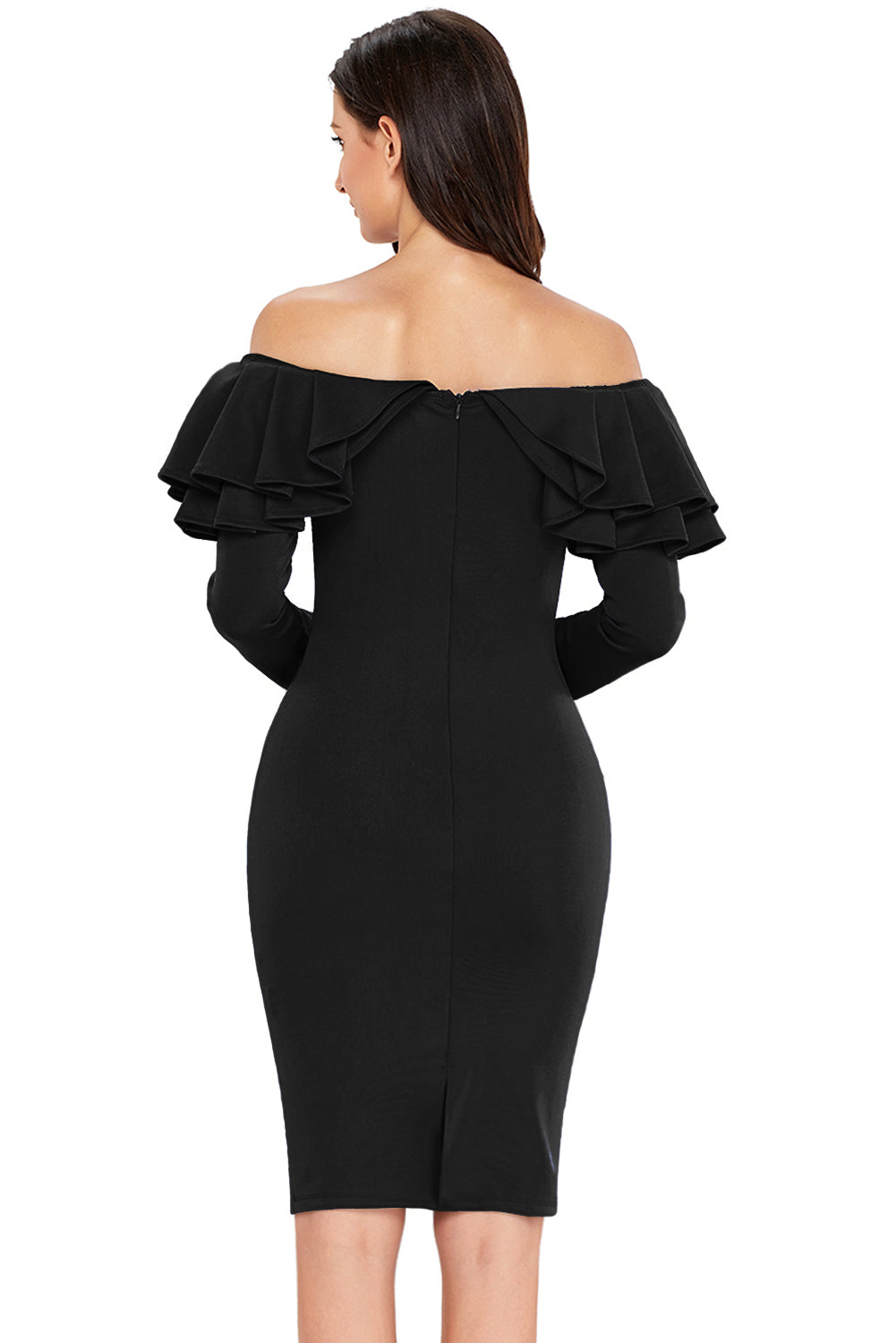 Black Ruffle Off The Shoulder Long Sleeve Bodycon Dress