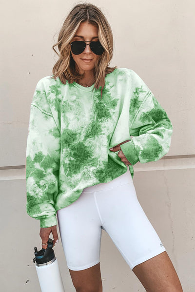 Green Tie-dyed Round Neck Sweatshirt