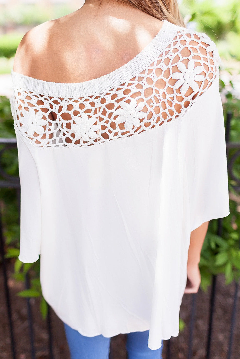 White Crochet Neckline Top